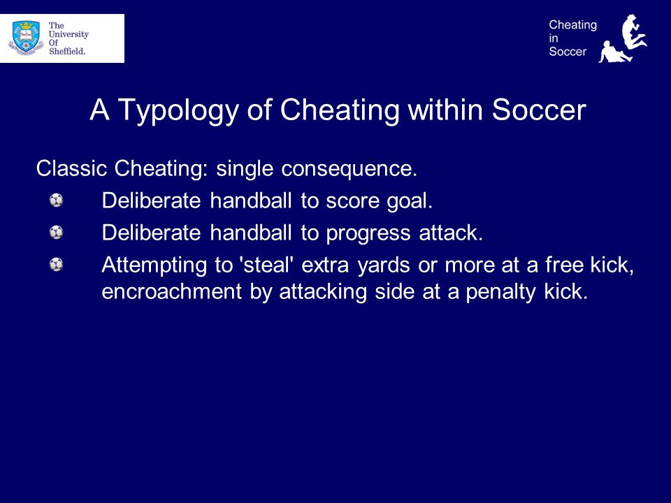 A Typology of Cheating within Soccer Classic Cheating: single consequence.