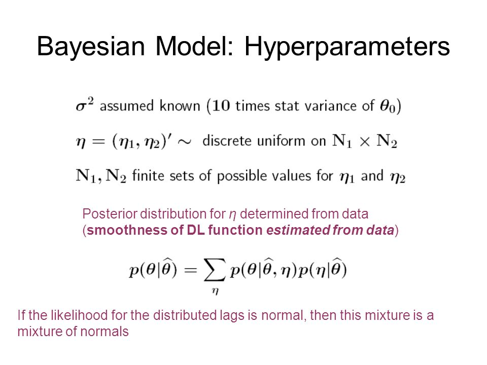 Bayesian Model: Hyperparameters If the likelihood for the distributed lags is normal, then this mixture is a mixture of normals Posterior distribution for η determined from data (smoothness of DL function estimated from data)