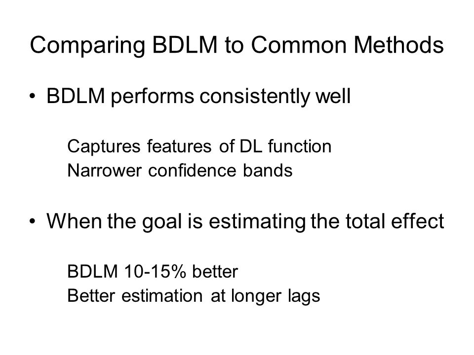 Comparing BDLM to Common Methods BDLM performs consistently well Captures features of DL function Narrower confidence bands When the goal is estimating the total effect BDLM 10-15% better Better estimation at longer lags