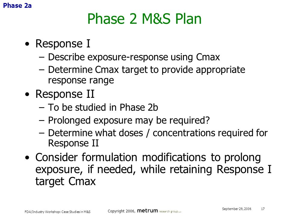 FDA/Industry Workshop: Case Studies in M&S Copyright 2006, metrum research group LLC September 29, 2006 17 Phase 2 M&S Plan Response I –Describe expos
