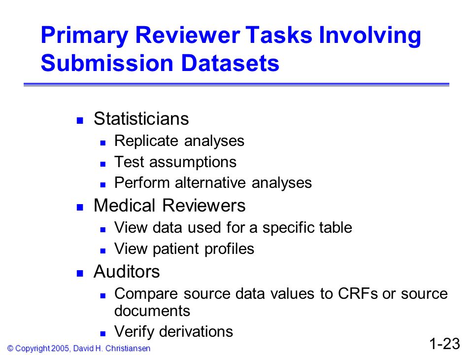 © Copyright 2005, David H. Christiansen 1-23 Primary Reviewer Tasks Involving Submission Datasets Statisticians Replicate analyses Test assumptions Pe