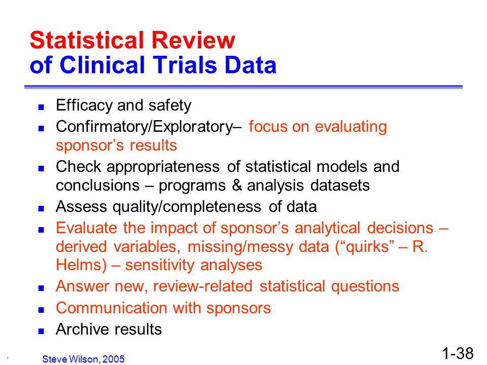 © Copyright 2005, David H. Christiansen 1-38 Statistical Review of Clinical Trials Data Efficacy and safety Confirmatory/Exploratory– focus on evaluat