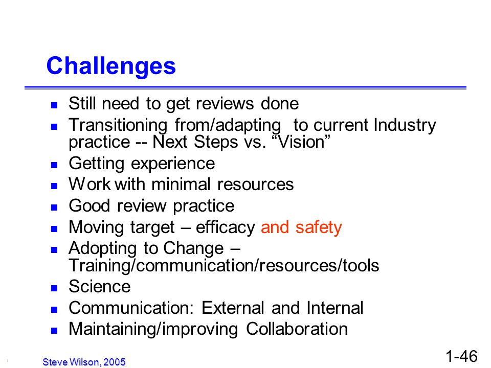 © Copyright 2005, David H. Christiansen 1-46 Challenges Still need to get reviews done Transitioning from/adapting to current Industry practice -- Nex