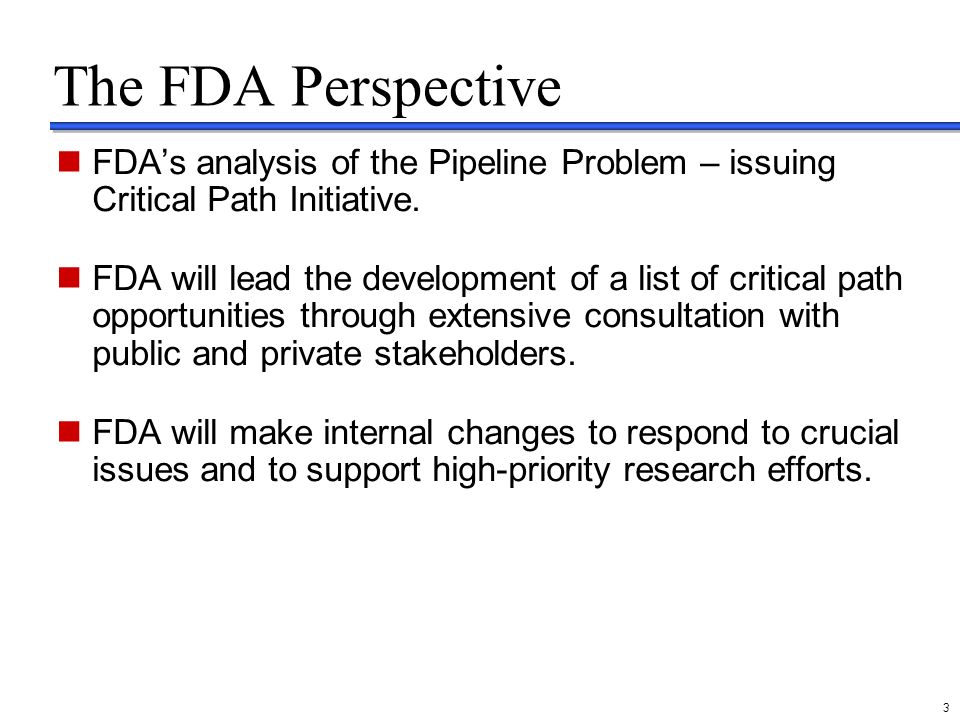 delete these guides from slide master before printing or giving to the client 3 The FDA Perspective FDAs analysis of the Pipeline Problem – issuing Cr