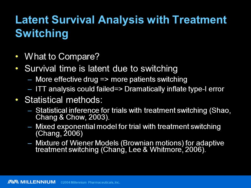 ©2004 Millennium Pharmaceuticals, Inc. Latent Survival Analysis with Treatment Switching What to Compare? Survival time is latent due to switching –Mo
