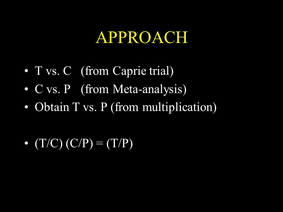 APPROACH T vs. C(from Caprie trial) C vs. P(from Meta-analysis) Obtain T vs.