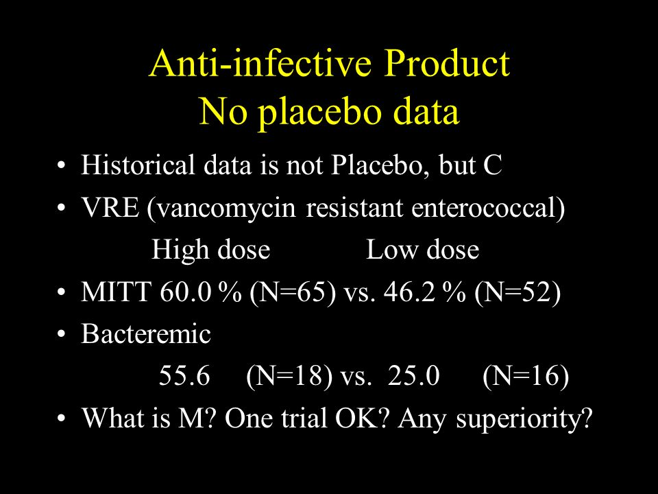 Anti-infective Product No placebo data Historical data is not Placebo, but C VRE (vancomycin resistant enterococcal) High dose Low dose MITT 60.0 % (N=65) vs.