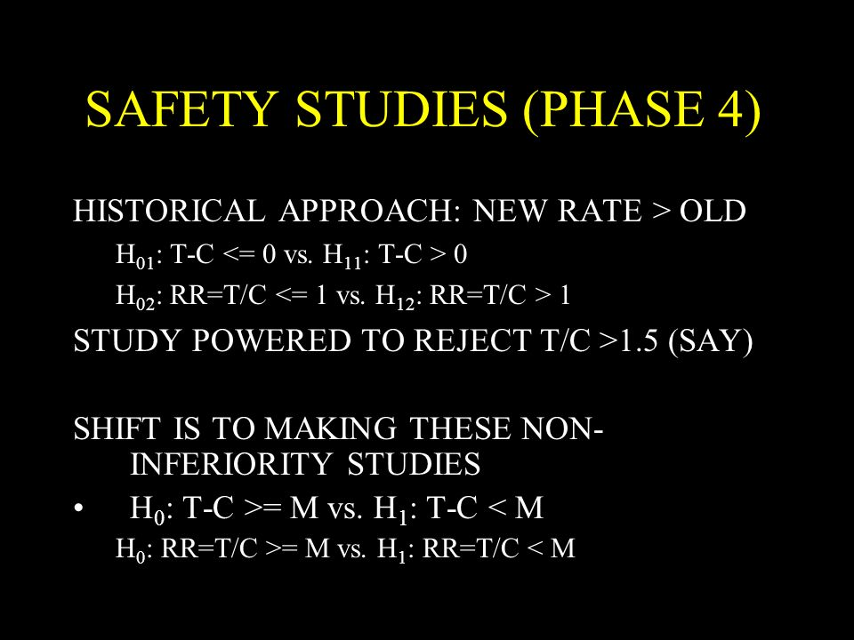 SAFETY STUDIES (PHASE 4) HISTORICAL APPROACH: NEW RATE > OLD H 01 : T-C 0 H 02 : RR=T/C 1 STUDY POWERED TO REJECT T/C >1.5 (SAY) SHIFT IS TO MAKING THESE NON- INFERIORITY STUDIES H 0 : T-C >= M vs.
