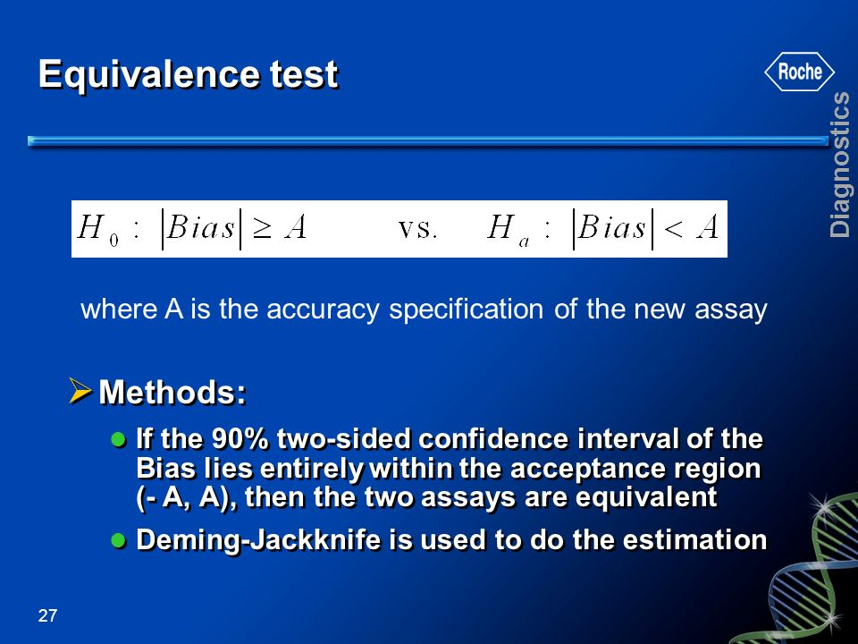 Diagnostics 27 Equivalence test Methods: If the 90% two-sided confidence interval of the Bias lies entirely within the acceptance region (- A, A), the