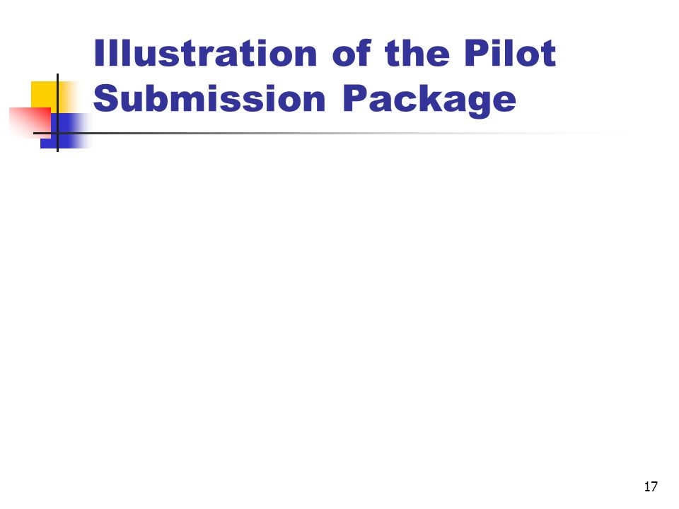17 Illustration of the Pilot Submission Package