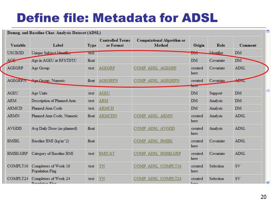20 Define file: Metadata for ADSL