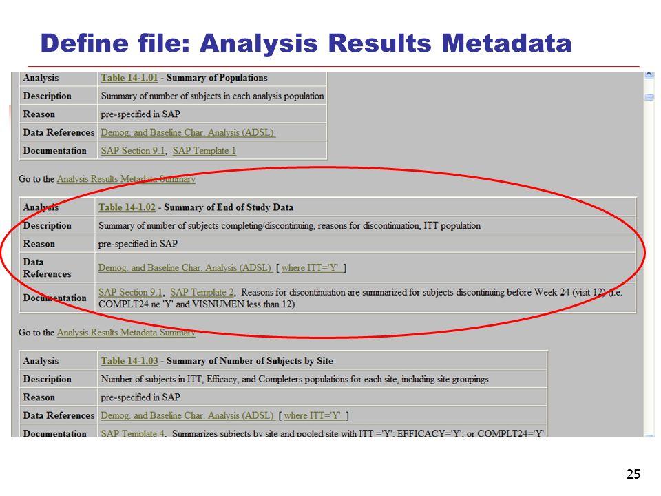25 Define file: Analysis Results Metadata