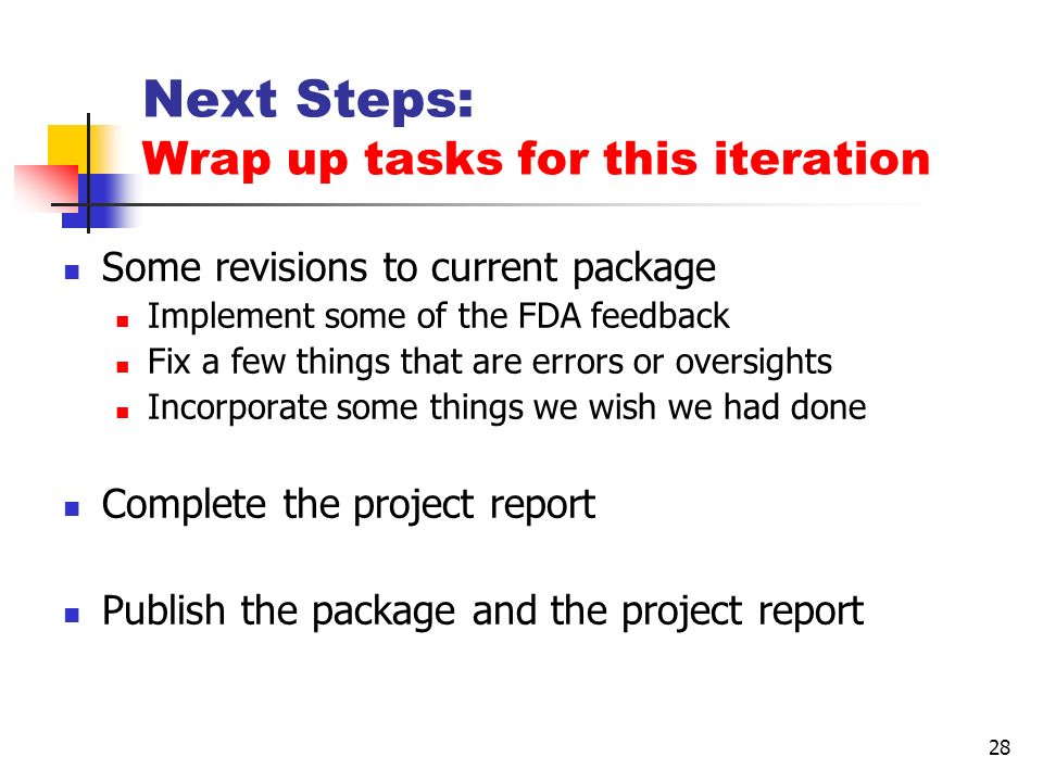 28 Next Steps: Wrap up tasks for this iteration Some revisions to current package Implement some of the FDA feedback Fix a few things that are errors