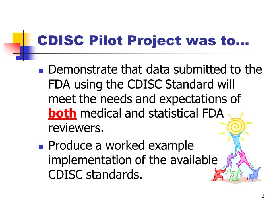 14 CDISCPILOT01 M1 (Administrative) Cover Letter PDF M5 (Clinical Study Reports) Study Report Study Report PDF Datasets Analysis DEFINE XML Analysis Datasets XPT Tabulation Annotated CRF PDF DEFINE XML SDTM Datasets XPT Reviewers Guide PDF CDISC Pilot Submission Package Content PDF TOCs and eCTD folder structure
