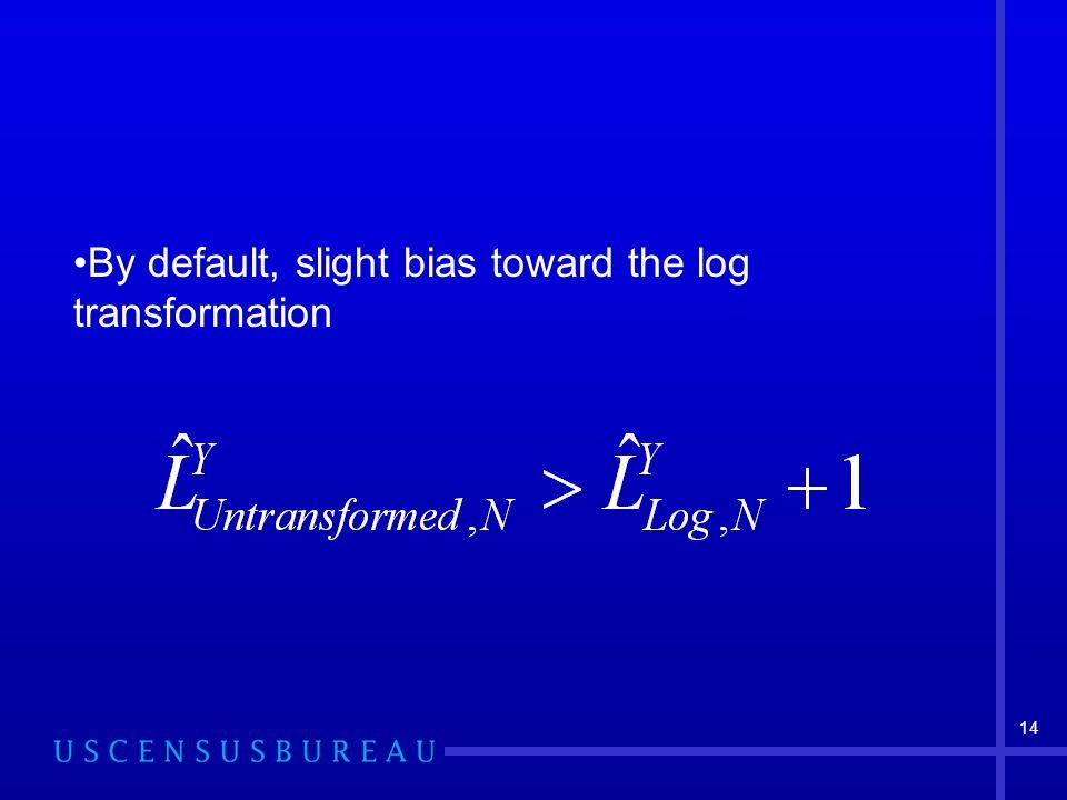 14 By default, slight bias toward the log transformation