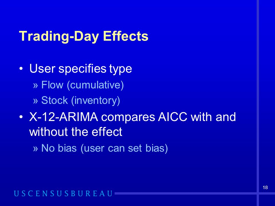 18 Trading-Day Effects User specifies type »Flow (cumulative) »Stock (inventory) X-12-ARIMA compares AICC with and without the effect »No bias (user can set bias)