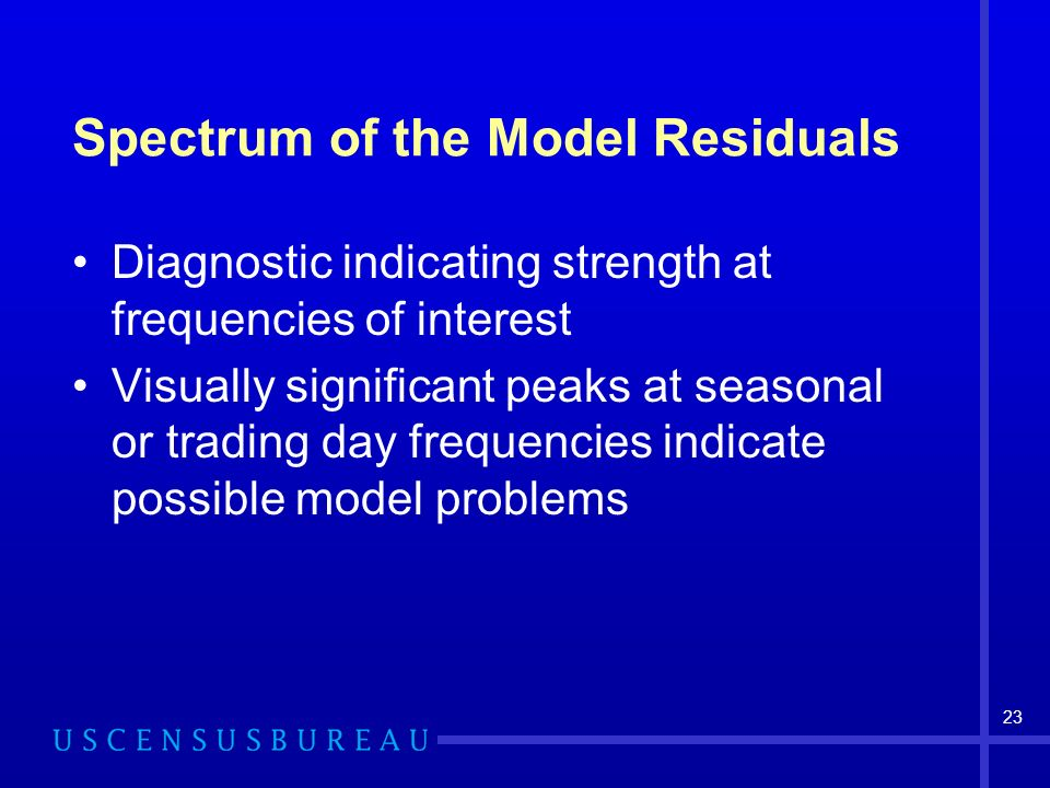 23 Spectrum of the Model Residuals Diagnostic indicating strength at frequencies of interest Visually significant peaks at seasonal or trading day fre
