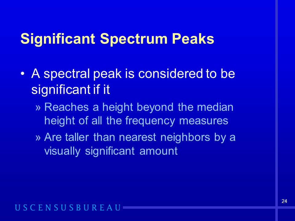 24 Significant Spectrum Peaks A spectral peak is considered to be significant if it »Reaches a height beyond the median height of all the frequency me