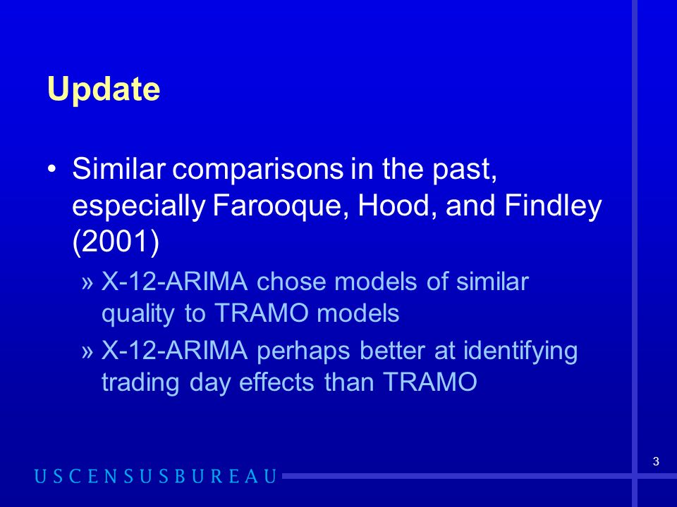 3 Update Similar comparisons in the past, especially Farooque, Hood, and Findley (2001) »X-12-ARIMA chose models of similar quality to TRAMO models »X-12-ARIMA perhaps better at identifying trading day effects than TRAMO