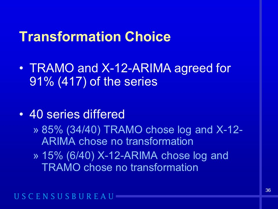 36 Transformation Choice TRAMO and X-12-ARIMA agreed for 91% (417) of the series 40 series differed »85% (34/40) TRAMO chose log and X-12- ARIMA chose no transformation »15% (6/40) X-12-ARIMA chose log and TRAMO chose no transformation