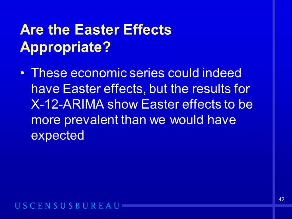 42 Are the Easter Effects Appropriate? These economic series could indeed have Easter effects, but the results for X-12-ARIMA show Easter effects to b