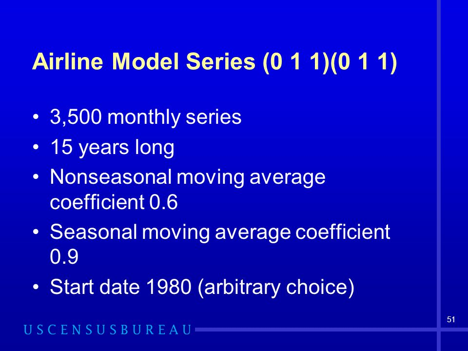 51 Airline Model Series (0 1 1)(0 1 1) 3,500 monthly series 15 years long Nonseasonal moving average coefficient 0.6 Seasonal moving average coefficient 0.9 Start date 1980 (arbitrary choice)