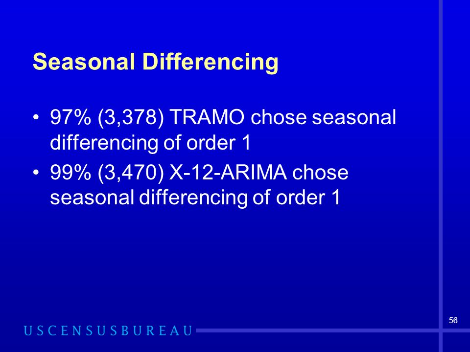 56 Seasonal Differencing 97% (3,378) TRAMO chose seasonal differencing of order 1 99% (3,470) X-12-ARIMA chose seasonal differencing of order 1