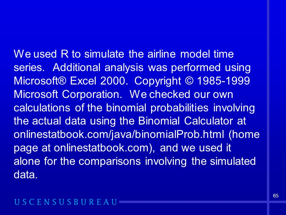 65 We used R to simulate the airline model time series.