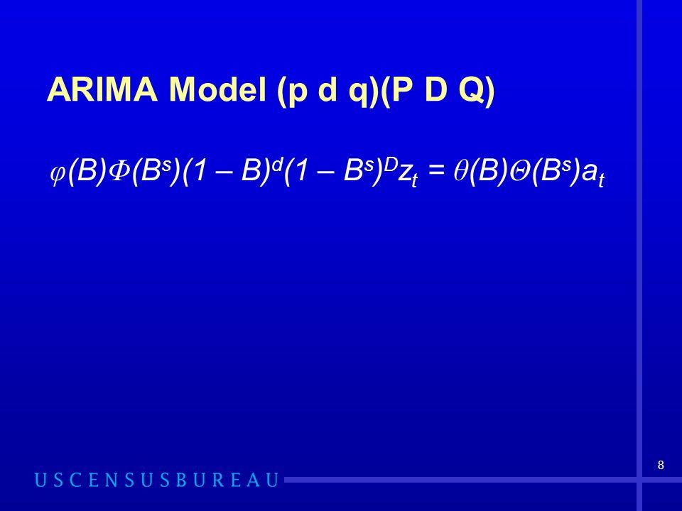 8 ARIMA Model (p d q)(P D Q) φ (B) Φ (B s )(1 – B) d (1 – B s ) D z t = θ (B) Θ (B s )a t