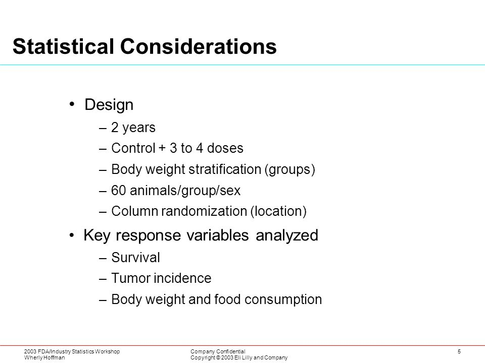 2003 FDA/Industry Statistics Workshop Wherly Hoffman Company Confidential Copyright © 2003 Eli Lilly and Company 5 Statistical Considerations Design –2 years –Control + 3 to 4 doses –Body weight stratification (groups) –60 animals/group/sex –Column randomization (location) Key response variables analyzed –Survival –Tumor incidence –Body weight and food consumption