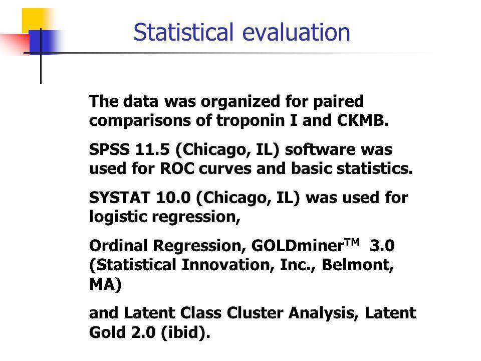 Statistical evaluation The data was organized for paired comparisons of troponin I and CKMB. SPSS 11.5 (Chicago, IL) software was used for ROC curves