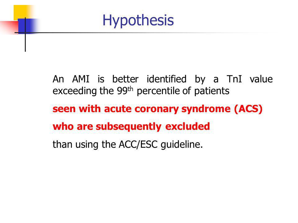 Hypothesis An AMI is better identified by a TnI value exceeding the 99 th percentile of patients seen with acute coronary syndrome (ACS) who are subsequently excluded than using the ACC/ESC guideline.