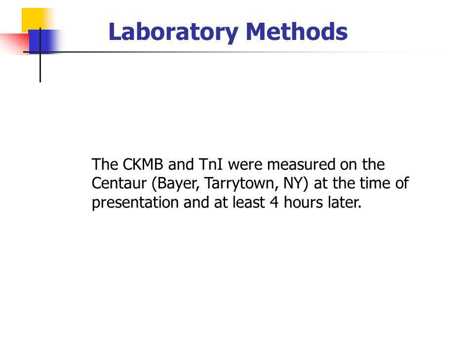 Laboratory Methods The CKMB and TnI were measured on the Centaur (Bayer, Tarrytown, NY) at the time of presentation and at least 4 hours later.