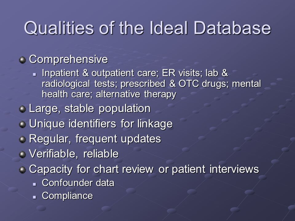 Qualities of the Ideal Database Comprehensive Inpatient & outpatient care; ER visits; lab & radiological tests; prescribed & OTC drugs; mental health care; alternative therapy Inpatient & outpatient care; ER visits; lab & radiological tests; prescribed & OTC drugs; mental health care; alternative therapy Large, stable population Unique identifiers for linkage Regular, frequent updates Verifiable, reliable Capacity for chart review or patient interviews Confounder data Confounder data Compliance Compliance