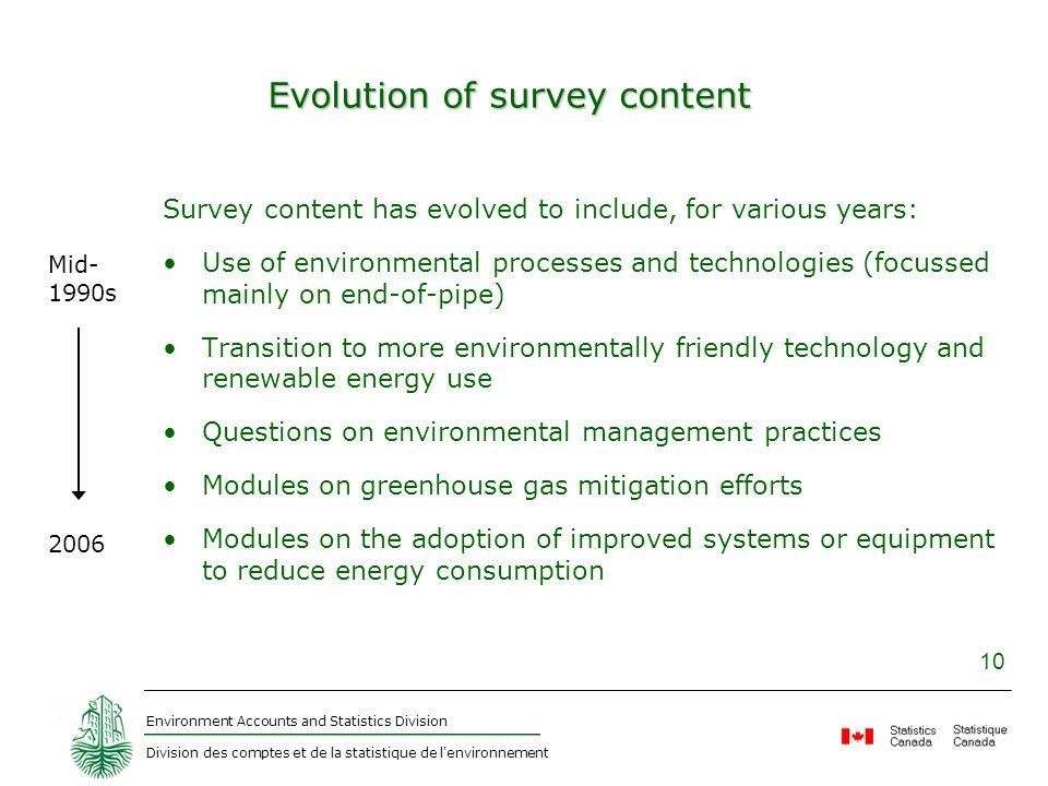 Environment Accounts and Statistics Division Division des comptes et de la statistique de l'environnement 10 Evolution of survey content Survey conten