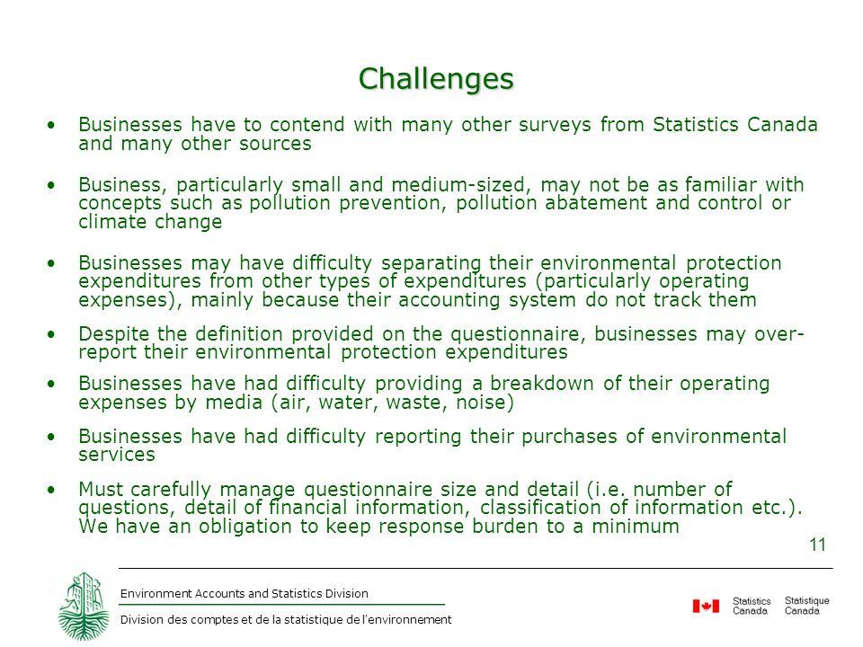 Environment Accounts and Statistics Division Division des comptes et de la statistique de l'environnement 11 Challenges Businesses have to contend wit