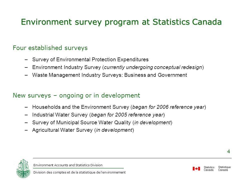 Environment Accounts and Statistics Division Division des comptes et de la statistique de l'environnement 4 Environment survey program at Statistics C