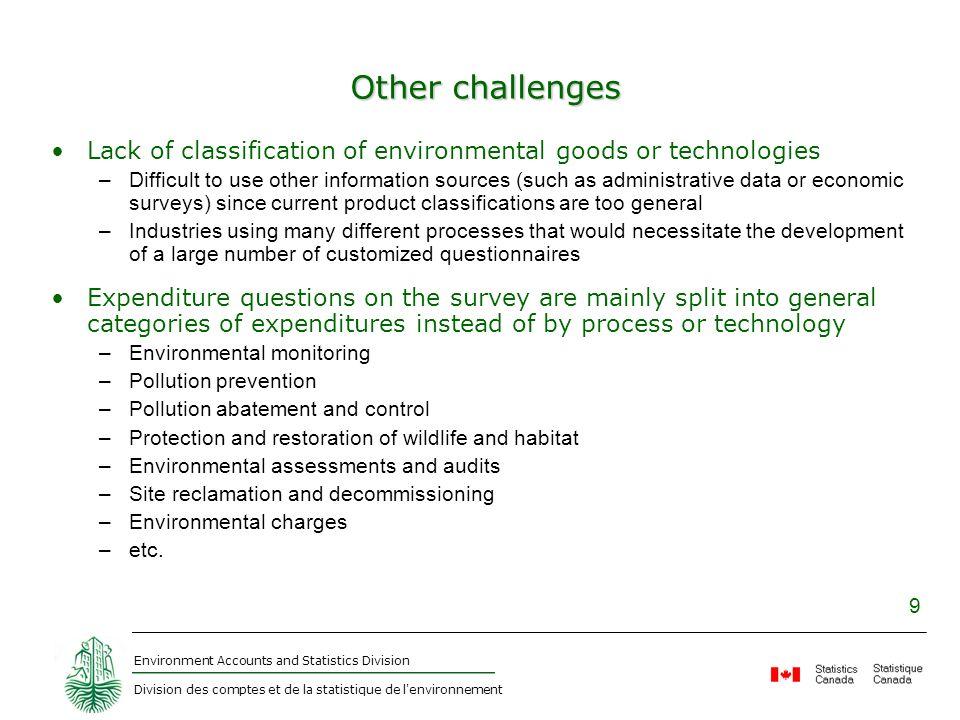 Environment Accounts and Statistics Division Division des comptes et de la statistique de l'environnement 9 Other challenges Lack of classification of