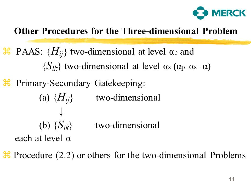 14 Other Procedures for the Three-dimensional Problem z PAAS: { H ij } two-dimensional at level α p and { S ik } two-dimensional at level α s (α p+ α s= α) z Primary-Secondary Gatekeeping: (a) { H ij } two-dimensional (b) { S ik } two-dimensional each at level α z Procedure (2.2) or others for the two-dimensional Problems