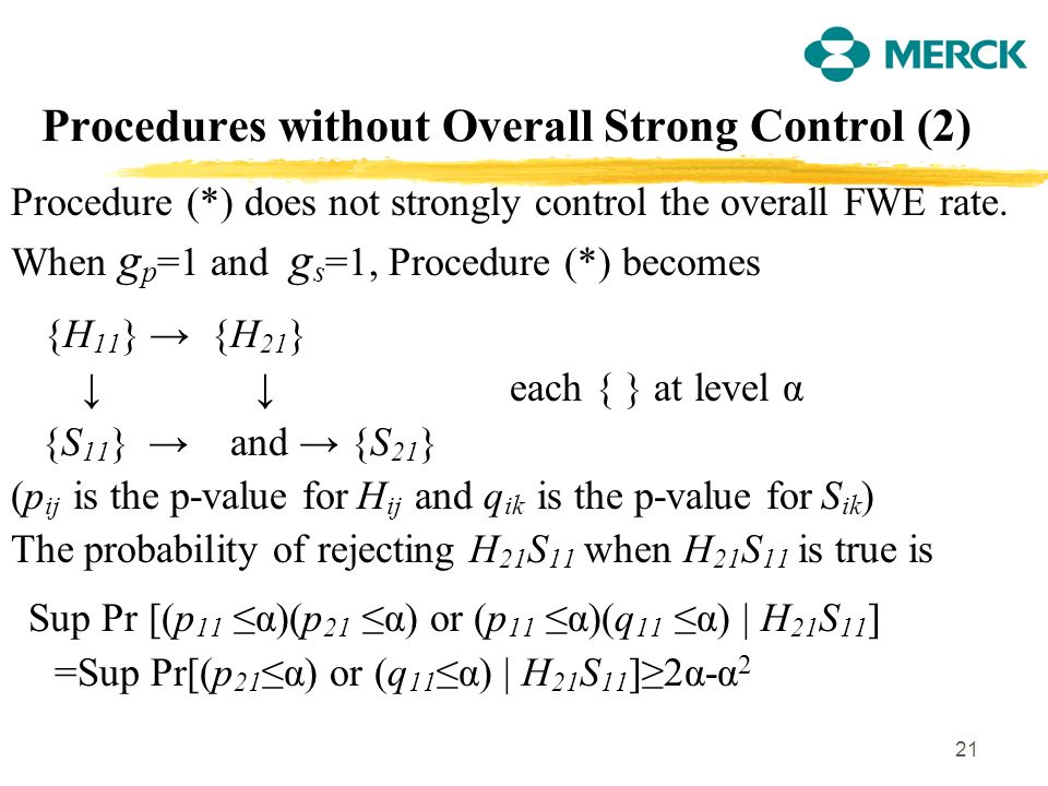 21 Procedures without Overall Strong Control (2) Procedure (*) does not strongly control the overall FWE rate. When g p =1 and g s =1, Procedure (*) b