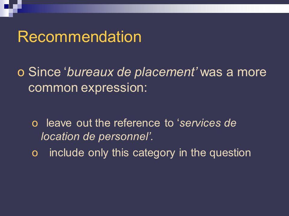 Recommendation oSince bureaux de placement was a more common expression: oleave out the reference to services de location de personnel.