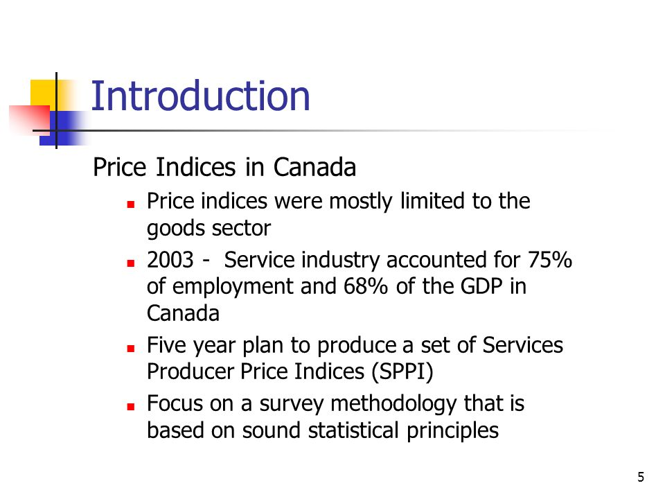 5 Introduction Price Indices in Canada Price indices were mostly limited to the goods sector 2003 - Service industry accounted for 75% of employment a