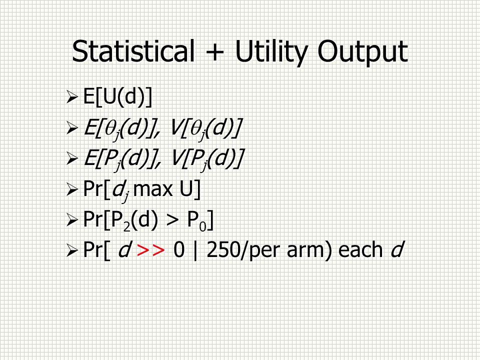 Statistical + Utility Output E[U(d)] E[ j (d)], V[ j (d)] E[P j (d)], V[P j (d)] Pr[d j max U] Pr[P 2 (d) > P 0 ] Pr[ d >> 0 | 250/per arm) each d E[U(d)] E[ j (d)], V[ j (d)] E[P j (d)], V[P j (d)] Pr[d j max U] Pr[P 2 (d) > P 0 ] Pr[ d >> 0 | 250/per arm) each d