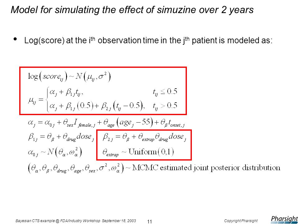 11 Bayesian CTS example @ FDA/Industry Workshop September 18, 2003Copyright Pharsight Model for simulating the effect of simuzine over 2 years Log(sco