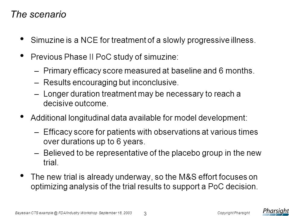 3 Bayesian CTS example @ FDA/Industry Workshop September 18, 2003Copyright Pharsight The scenario Simuzine is a NCE for treatment of a slowly progress