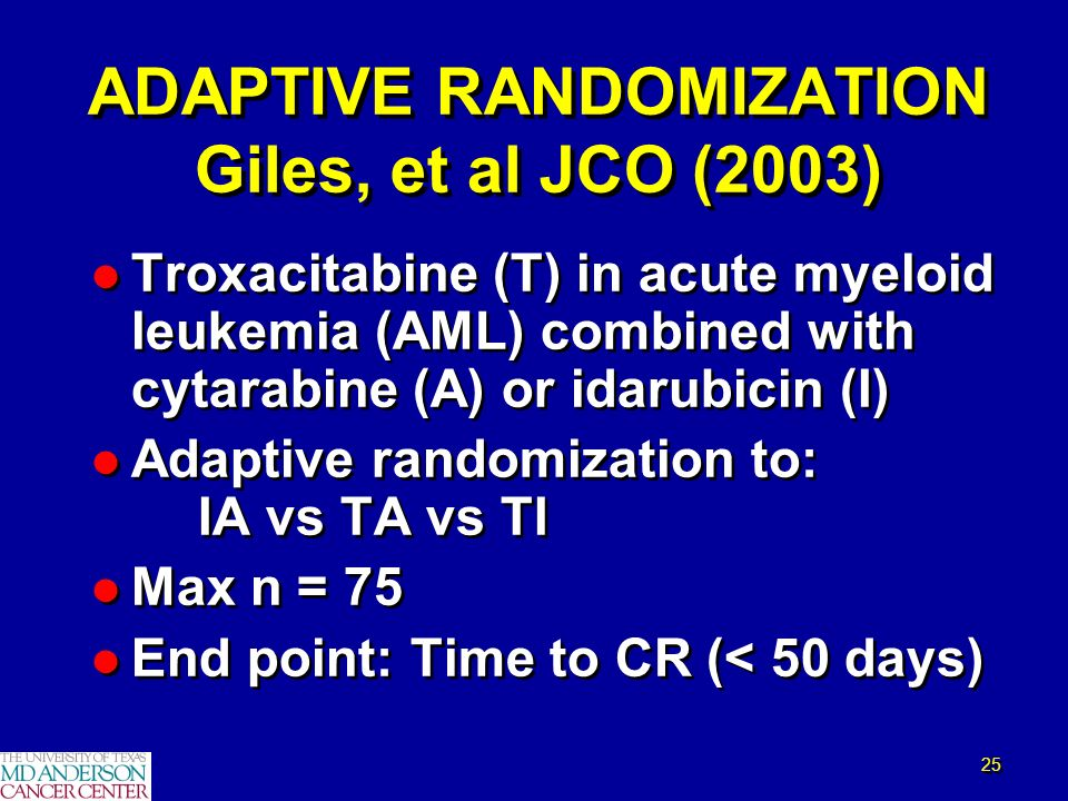 25 l Troxacitabine (T) in acute myeloid leukemia (AML) combined with cytarabine (A) or idarubicin (I) l Adaptive randomization to: IA vs TA vs TI l Ma