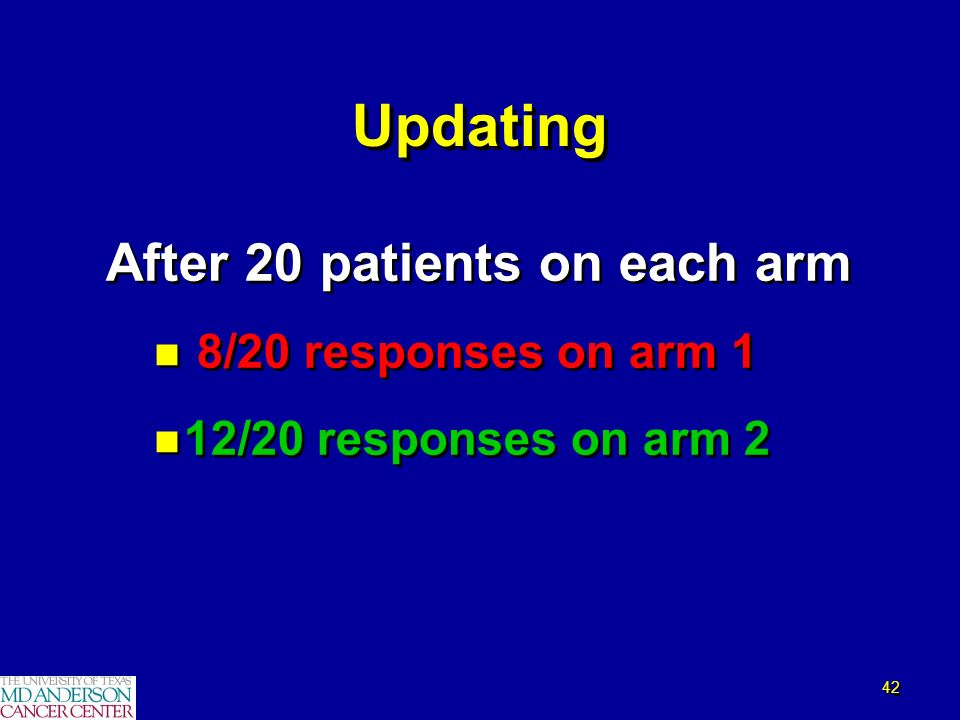 42 Updating After 20 patients on each arm n 8/20 responses on arm 1 n 12/20 responses on arm 2 After 20 patients on each arm n 8/20 responses on arm 1