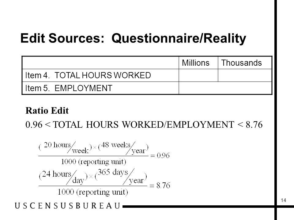14 Edit Sources: Questionnaire/Reality MillionsThousands Item 4.