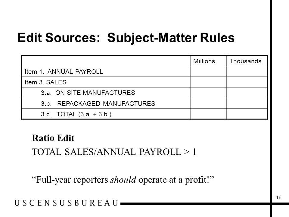 16 Edit Sources: Subject-Matter Rules MillionsThousands Item 1.