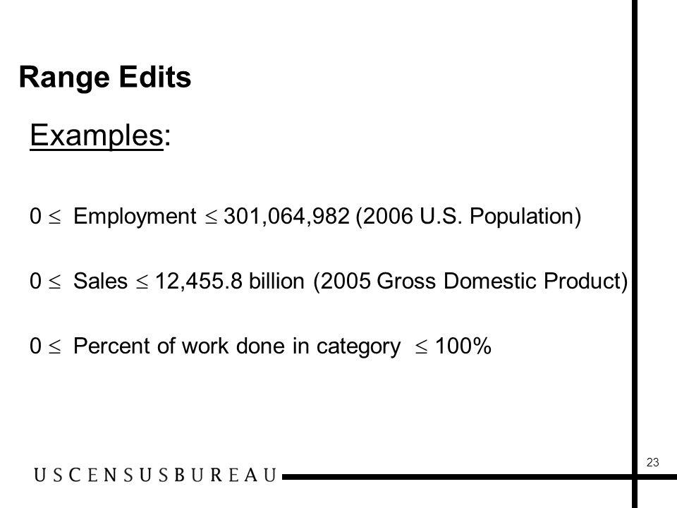 23 Range Edits Examples: 0 Employment 301,064,982 (2006 U.S.